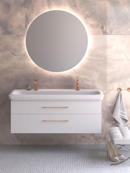 Choice - möbelserie i många olika storlekar, glastvättställ eller porslinstvättställ.